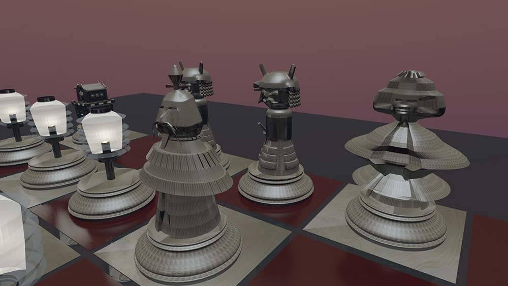 diseno grafico modelado 3d ajedrez chino